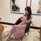 優惠持續兩天-春秋裝女2018新品長袖雪紡連身裙中長版正韓復古初戀裙氣質