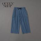 Queen Shop【04120028】高腰抽繩落地多口袋牛仔褲 兩色售 1/2*現+預*
