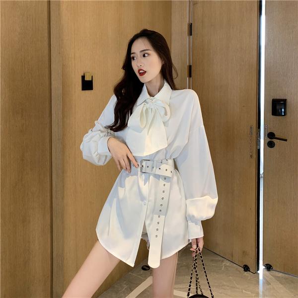 VK旗艦店 韓系時尚蝴蝶結綁帶襯衫長袖洋裝