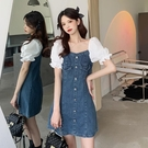胖mm大碼女裝夏季復古方領泡泡袖收腰顯瘦氣質短袖牛仔裙洋裝潮 黛尼時尚精品
