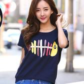 ENTER 短袖T恤 彩色印花小魚不規則短袖T恤【GO5009】