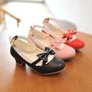 兒童皮鞋韓版女童高跟鞋艾莎蝴蝶結公主鞋中大童單鞋 安妮塔小舖