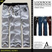 棉長褲【WX62192】美式休閒印花抽繩設計彈性羅紋棉質長褲(4色)