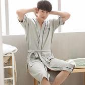 睡袍男士夏季浴衣純棉日式浴袍和服長袍睡裙男袍夏天長款薄款睡衣 艾尚旗艦店