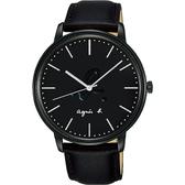 agnes b. 法國時尚LOGO 手錶-黑色/41mm VJ21-KBF0C(BH8051X1)