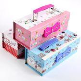 文具盒日韓創意小學生密碼鎖文具盒可愛男女三層鉛筆盒多功能大容量筆袋   color shop