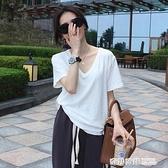 白色短袖t恤女v領2021新款寬鬆韓版百搭純棉上衣內搭打底衫 奇妙商鋪