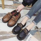 原宿小皮鞋女英倫學院風復古百搭日系中跟韓版潮學生女鞋DA341『黑色妹妹』