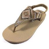 (A3)SKECHERS(女) 水鑽涼鞋 夾腳涼鞋 Meditation-Gypsy - 31769TPMT 棕 [陽光樂活]
