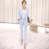 西裝套裝含外套+九分褲(兩件套)-休閒純色氣質修身女西服73xs21[巴黎精品]
