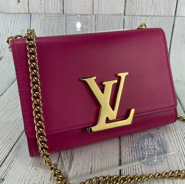 BRAND楓月 LOUIS VUITTON LV 路易威登 M41363 桃紅色 金LOGO 翻蓋 金鍊包 斜背包