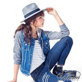 Victoria 異材質袖拼接牛仔外套-中藍-V3515176
