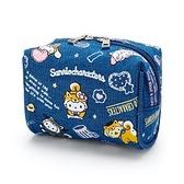 小禮堂 Sanrio大集合 牛仔布方形化妝包 牛仔布收納包 小物包 (藍 調皮柴犬) 4550337-57433