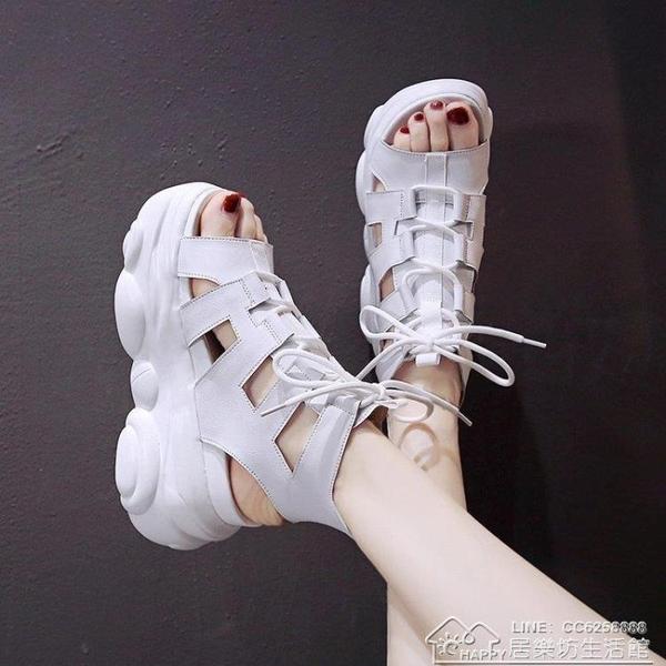 高筒涼靴女時尚新款夏季網紅鏤空時尚百搭厚底厚底內增高羅馬【全館免運】