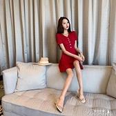 短袖洋裝 洋氣ins裙子2021新款港風V領排扣顯瘦收腰時尚潮流女裝連衣裙 快速出貨