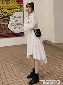 襯衫裙 長裙桔梗法式過膝設計感小眾超仙女森系新年戰袍襯衫連身裙子秋冬 曼慕