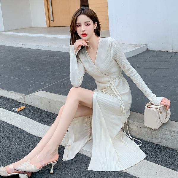 出清388 韓國風名媛V領復古針織細帶裹身顯瘦長袖洋裝