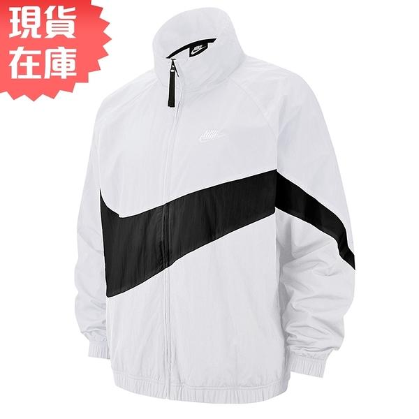【現貨】NIKE Sportswear 男裝 外套 夾克 防風 休閒 透氣 大勾 光澤感 白【運動世界】AR3133-100