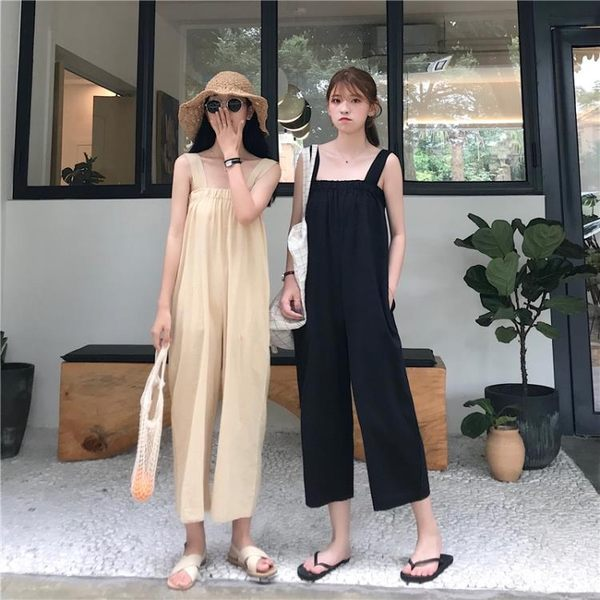 吊帶寬褲新款韓版純色薄款沙灘連體褲 JD3593【KIKIKOKO】
