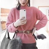毛衣-兔毛純色高領加厚休閒女針織衫4色73uc33[巴黎精品]