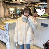 棉衣服韓版學生寬鬆高領加厚羊羔毛絨外套女潮