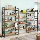 現代書架簡易置物架客廳書櫃鋼木組合儲物貨...