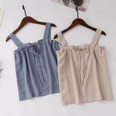 A54吊帶背心女夏新款渡假風純色抽繩雪紡顯瘦百搭寬鬆短款打底衫