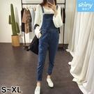 【V3279】shiny藍格子-簡搭風格.學院風修身吊帶牛仔褲