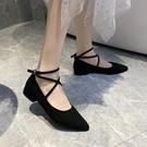 熱賣低跟鞋淑女尖頭單鞋女2021新款仙女風低跟黑色綁帶一字扣小香風晚晚鞋女 【618 狂歡】