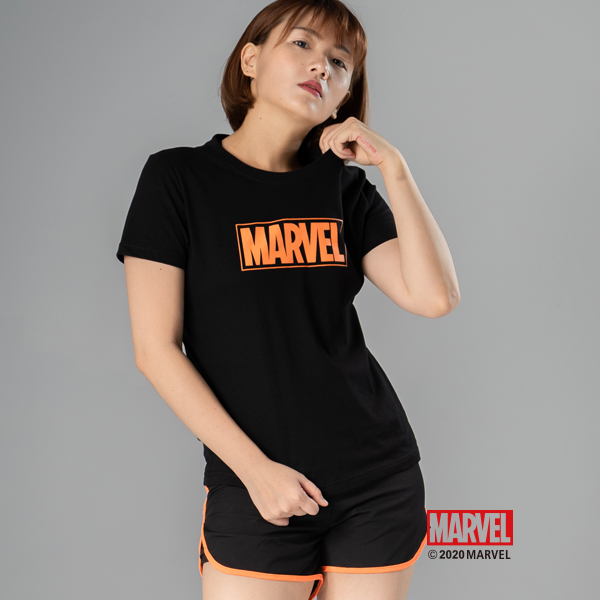 MARVEL漫威服飾 經典LOGO設計 亮色短袖棉質上衣 運動T恤 女款