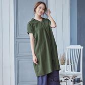 【Tiara Tiara】V領純棉抓摺紋短袖洋裝(綠/紅)