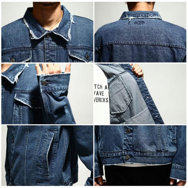 牛仔外套 寬版復古丹寧迷彩夾克