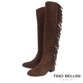 Tino Bellini巴西進口不羈流蘇平底過膝靴_ 咖 B69015 歐洲進口款