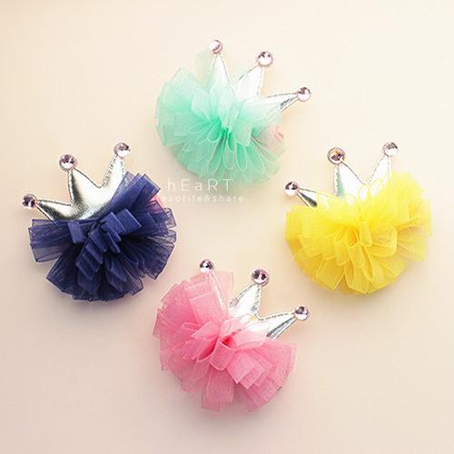 皇冠網紗緞帶花髮夾 兒童髮飾 髮夾 造型髮飾