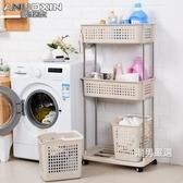 浴室置物架衛生間置物架塑料浴室洗漱洗手間廁所收納架帶輪儲物落地3層架子xw