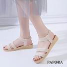 PAPORA清涼雙版休閒涼鞋KB811黑/米