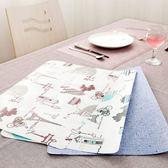 ◄ 生活家精品 ►【L182】仿麻雙面印花餐墊 防水 歐式 餐桌 西餐 防滑 隔熱 易清洗 廚房 用餐 風格