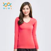 【WIWI】MIT溫灸刷毛V領發熱衣(朝陽紅  女S-2XL)