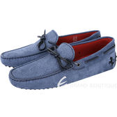 TOD'S For Ferrari 壓紋磨砂牛皮拼接綁帶豆豆休閒鞋(男款/藍色) 1740451-23