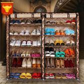 鞋櫃(6層)-實用雙排雙門大容量帆布鞋架6色73fu2[時尚巴黎]