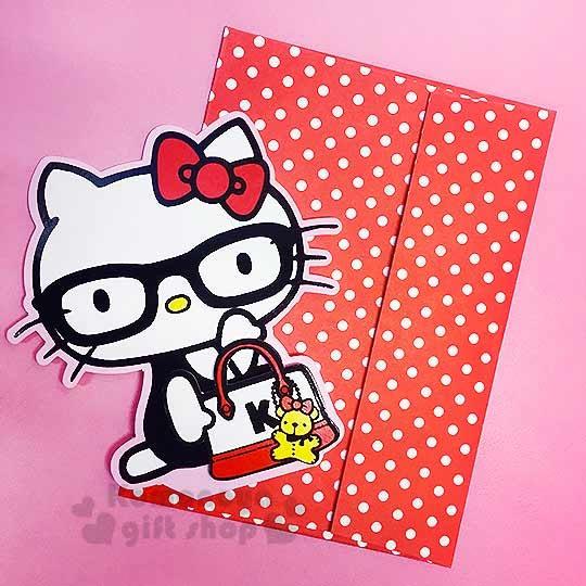 〔小禮堂〕Kitty 造型萬用卡片《紅.側坐.戴眼鏡.手提包》可立.附信封4714581-22546