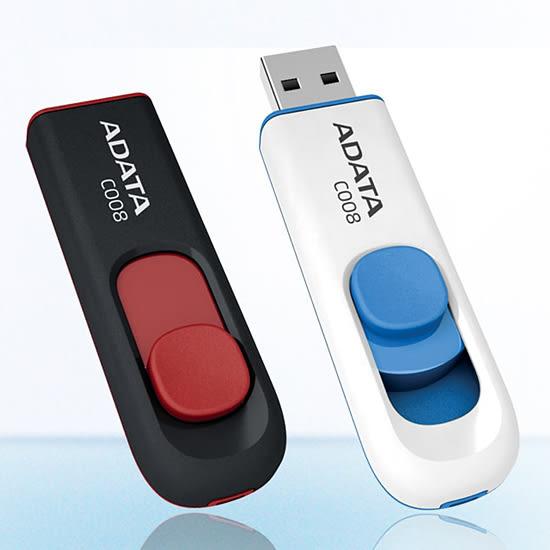 [哈GAME族]滿399免運費 可刷卡 威剛 ADATA C008 8gB 日系簡約隨身碟 usb 2.0 8g 白藍色/紅黑色