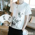 亞麻短袖男T恤夏季圓領棉麻半袖打底衫流中國風寬鬆胖子上衣服xy4280【艾菲爾女王】