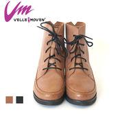 VelleMoven 短靴 帥氣綁帶平底靴 帥氣鉚釘 款 可可色/帥氣黑