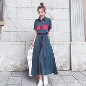 長洋裝 洋裝2021新款夏裙子收腰顯瘦氣質女神范設計感小眾襯衫法式長裙 秋季新品