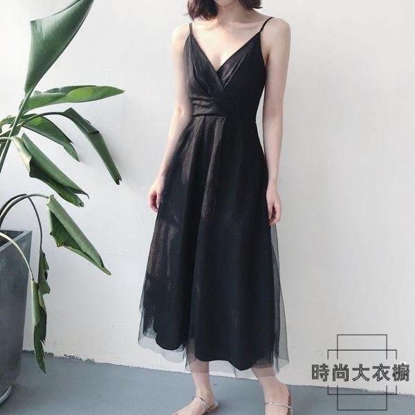 性感吊帶連身裙法式復古裙沙灘裙海邊度假超仙【時尚大衣櫥】
