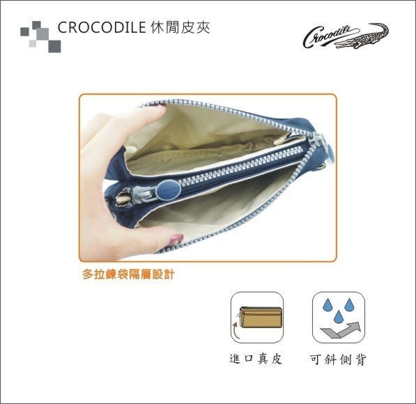 【寧寧*台中老店】Crocodile 專櫃鱷魚皮件【防潑水布深藍色多夾層附首提帶輕便隨身手拿包】141-5
