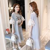 韓 長韓T 連身裙M-2XL2020流行裙子新款小個子網紗小飛袖連衣裙超仙夏季學生顯瘦長裙1F037依品國際