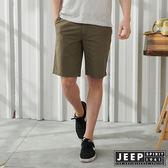 【JEEP】反摺造型素面休閒短褲-橄欖綠