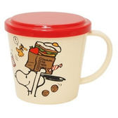 〔小禮堂〕史努比 日製塑膠小水杯《白紅.早餐袋.餅乾.270ml》附蓋防灰塵 4981181-76134
